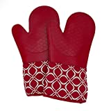 Silicone Oven Mitts with Cotton Lining, High Heat Resistant Kitchen Gloves, Non-Slip Potholder (1 Pair)
