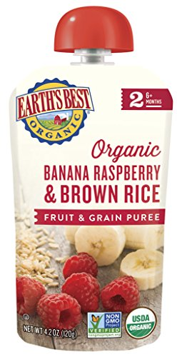 Earth's Best Organic Stage 2, Banana, Raspberry & Brown Rice, 4.2 Ounce Pouch (Pack of 12) (Packaging May (Rice Oatmeal)