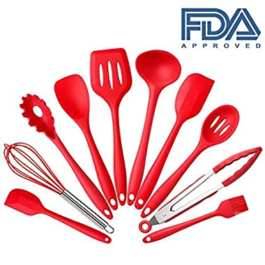 Set of 10 Pieces Silicone Kitchen Cooking Utensils With Hygienic Solid Coating,Heat Resistant Baking Spoonula,Brush,Whisk,Large and Small Spatula,Ladle,Slotted Turner and Spoon,Tongs,Pasta Fork Red by Easylife185