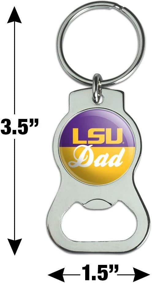 Graphics and More LSU Dad Keychain with Bottle Cap Opener