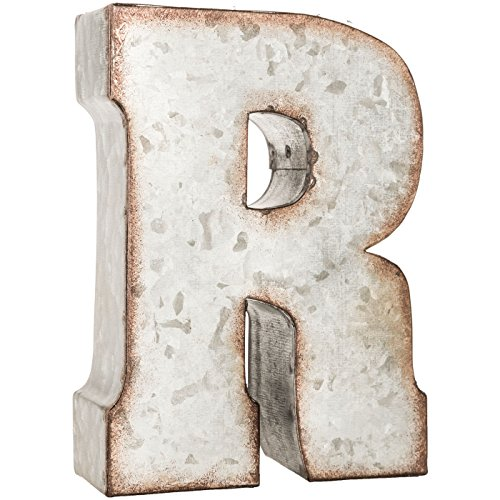 Galvanized Metal 3D Letter R