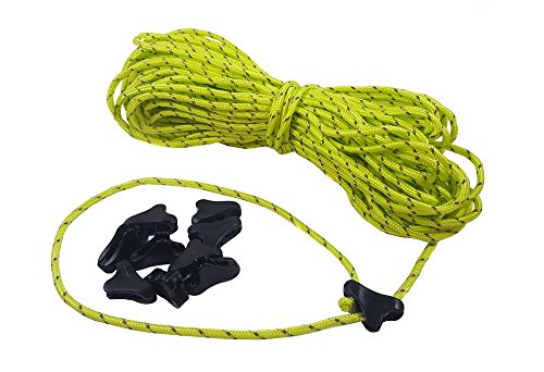 Zephyr Mini Line Lock Tent Guyline Cord Tensioners (Set of 10) Includes 65 ft. Reflective Guyline (Lime Green)