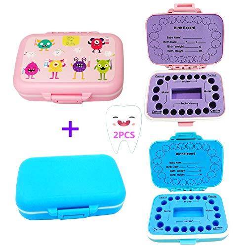 2 Packs Baby Teeth Keepsake Box, pp Children Kids Tooth Storage Holder Organizer Printed in English to Keep The Child Memory (Blue and Pink Pattern)