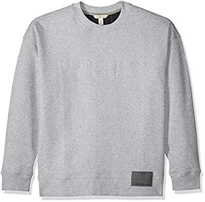 Calvin Klein Men's Long Sleeve Oversized Crew Sweatshirt With Logo and Patch