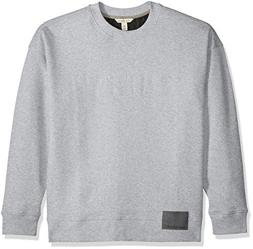 Calvin Klein Jeans Men's Long Sleeve Oversized Crew Sweatshirt Logo Patch, Light Grey Heather, Small by Calvin Klein