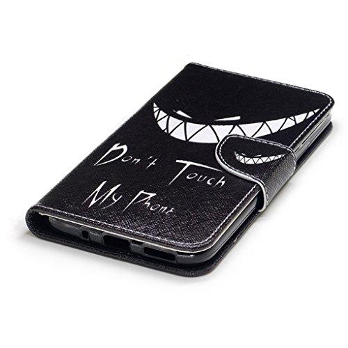 Trumpshop Smartphone Carcasa Funda Protección para Motorola Moto G6 + Gongfu Panda + PU Cuero Caja Protector Billetera con Cierre magnético Choque Absorción Dont Touch My Phone (sonrisa)