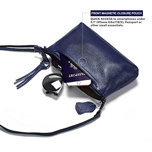 Purse Womens with Bag Lecxci Navy Small Women Wallet Zipper Clutch Crossbody Slots for 3 Blue Leather Card Phone fvvzdq