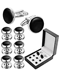 Adramata Mens Cufflinks and Tuxedo Studs Set for Wedding Business Tuxedo Shirts with Gift Box
