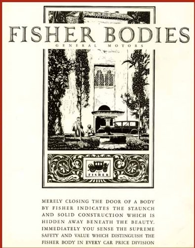 - Superb Artwork in 1926 Body by Fisher General Motors AD Original Paper Ephemera Authentic Vintage Print Magazine Ad/Article