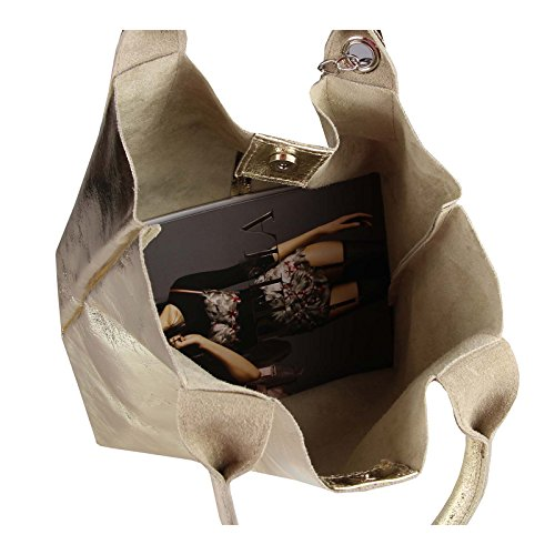 A Tracolla Gold Marsupio Shopper Con leder 45x34x13 42x35x16 Metallizzato Hobo bxhxt Borsetta Donna Obc Borsa argento Bag Antiquariato Manici qYaSS0