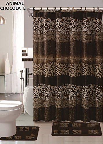 Amazon Com Af 18 Piece Bath Rug Set Leopard Brown Bathroom Rugs