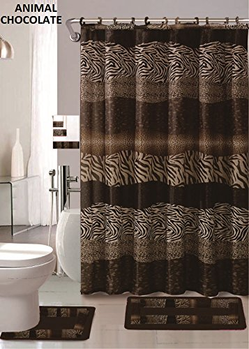 AF 18 Piece Bath Rug Set Leopard Brown Bathroom Rugs Zebra Shower Curtain Mat/Rings Towel Set- Animal Coffee