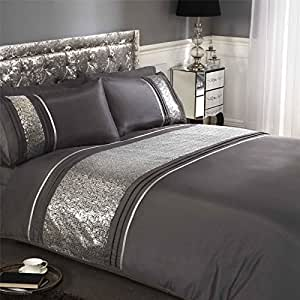 SEQUINS BAND PINTUCK CHARCOAL GREY FAUX SILK CANADIAN FULL (COMFORTER COVER 200 X 200 - UK DOUBLE) (PLAIN SILVER GREY FITTED SHEET - 137 X 191CM + 25 - UK DOUBLE) PLAIN SILVER GREY HOUSEWIFE PILLOWCASES 6 PIECE BEDDING SET