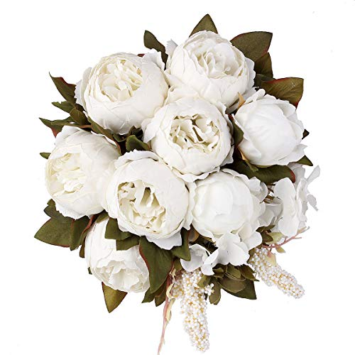 Shengyuan Artificial Flowers Fake Silk Peony Flower Bouquet Floral Plants Decor for Home Garden Wedding Party Decor Decoration,White from Shengyuan
