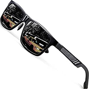 ATTCL Men's Hot Retro Al-Mg Metal Frame Driving Polarized Wayfarer Sunglasses For Men Women 16560blackgray