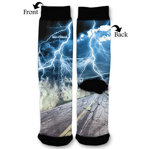 Lightning Dry Quarter Sock - Leisue Disaster Lightning High Ankle Sock, Soft Cotton Breathable Polyester Crew Socks for Women Men