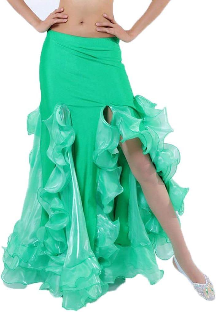 C&X Belly Dance Performance Skirt Indian Dance High Split Crimping ...