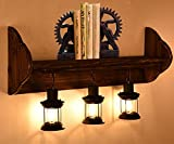 Antique Glass E27 Button-Type Wall Lamp Led Retro Boat Wooden Decorative Bookshelf Personality Creative Bar Counter Coffee Shop Clothing Store Bar Wall Lamp (Width 89Cm, High 49Cm)