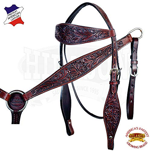 (HILASON Dark Brown Western Leather Horse Bridle Headstall Breast Collar)