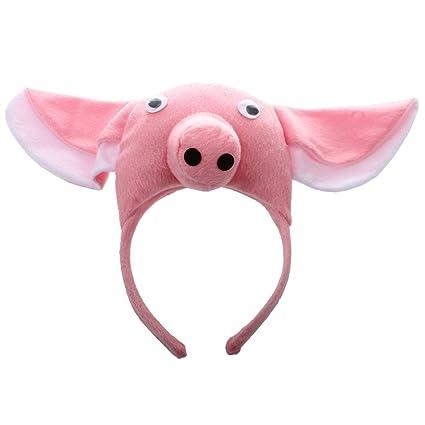 SODIAL(R) Banda de cabeza de cerdo 3D Granja de animales Mascara para ninos