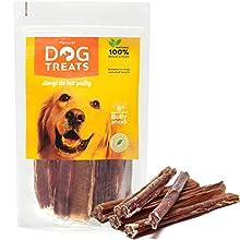 Palos para Perros 6 Pulgadas 100% Naturales Carne de Res de Cuero Crudo de Toro Bocadillo, 10 Piezas