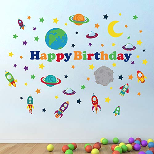decalmile Outer Space Wall Decals Planets Rocket Spaceship Stars Wall Stickers Space Theme Birthday Party Decoration Baby Nursery Kids Room Wall Decor (Happy Birthday)