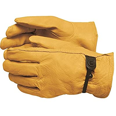 GEMPLER'S Premium Quality Durable Cowhide Leather Work Gloves with Keystone Leather Thumb for High Dexterity plus Anti-Debris Drawstring – One Pair