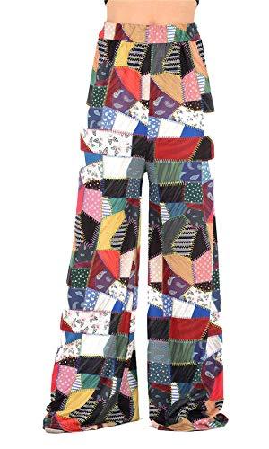 Palazzo Ladies Stampa Islander Party Patch Work S Fashions Pantaloni Printed 2XL Fancy Womens Patch Palazzo ampia Gamba Work wAq0g8AH