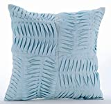 "Luxury Light Blue Shams, Textured Pintucks Solid Color Pillow Shams, 24""x24"" Pillow Sham, Square Cotton Linen Shams, Modern Pillow Shams - Open To The Sky"