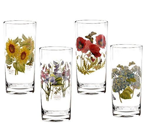Portmeirion Botanic Garden Hi Ball Tumbler Glasses Set of 4 (Botanic Sweet Garden Portmeirion)