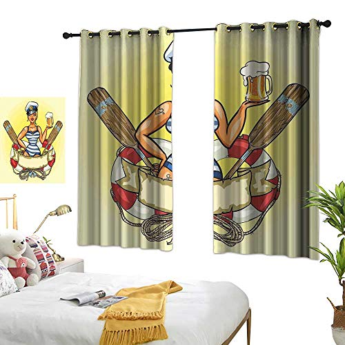 Sheer Curtains Girls,Pin Up Sexy Sailor Girl Lifebuoy with Captain Hat and Costume Glass of Beer Feminine,Multicolor 54