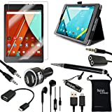 Nexus 9 case and Accessories - DigitalsOnDemand ® 10-Item Accessory Bundle Kit for Google Nexus 9 Tablet 8.9-Inch - Standing Slim Black Leather Case, Ultra Clear HD Glass Screen Protector, 2-in-1 Touch Stylus Ink Pen, USB Cable, Car Charger Adapter, Earphones, Earbud Splitter, Micro 2.0 USB OTG, Auxiliary Sound Cable, Drawstring Travel Pouch Bag