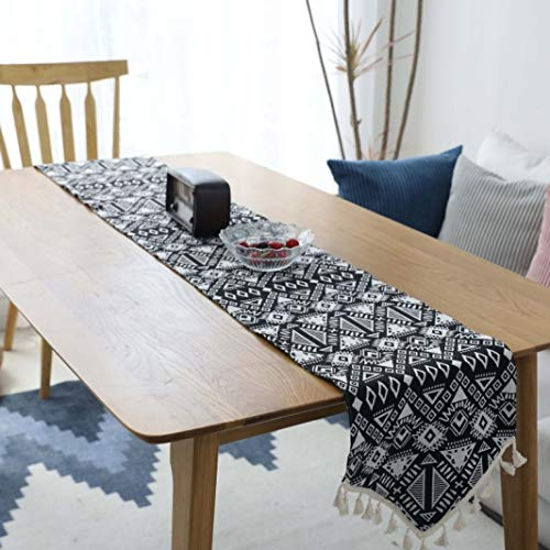 US-ROGEWIN Table Runner Classical Gorgeous Tassels No Fade Black Cotton Linen Burlap Side Dinning Room Bed Cafe Decoration -
