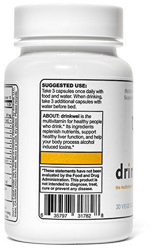 Drinkwel for Hangovers, Nutrient Replenishment & Liver Support (30 Vegetarian Capsules with Organic Milk Thistle, N-acetyl Cysteine, Alpha Lipoic Acid, and DHM) (Travel Size Bottle) by drinkwel (Image #1)