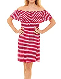 Womens Off Shoulder Ruffles Dress - Strapless Stripe solid Dresses, Red Hanger