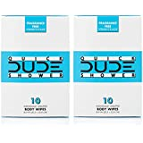 DUDE Shower Body Wipes (2 Packs 10 Wipes) Wet Wipes Individually Wrapped for Travel Unscented Naturally Soothing Aloe and Hypoallergenic, Portable Travel-Sized Individual Cleansing Cloths for Men