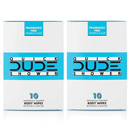 DUDE Shower Body Wipes (2 Packs 10 Wipes) Wet Wipes Individually Wrapped for Travel Unscented Naturally Soothing Aloe and Hypoallergenic, Portable Travel-Sized Individual Cleansing Cloths for Men by Dude Products (Image #3)