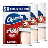 #5: Charmin Ultra Strong Toilet Paper, Family Mega Roll with Clean Touch (5x More Sheets*), 24 Count
