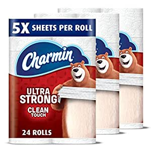 Charmin Ultra Strong Toilet Paper, Family Mega Roll with Clean Touch (5x More Sheets*), 24 Count