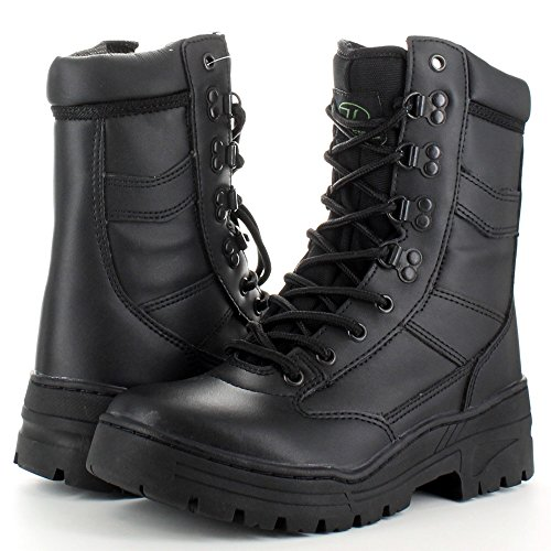 Highlander Boys Delta Military Leather Lace Up Winter Walking Boots Black