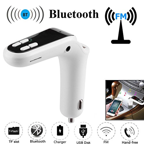 Creazy Car FM Transmitter Bluetooth Hands-free LCD MP3 Player Radio Adapter Kit Charger (White)