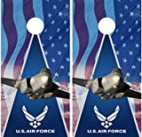 Air Force Military Jet American Flag LAMINATED Cornhole Board Decal Wrap Wraps