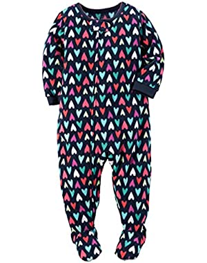 Girls' 12M-12 One Piece Fleece Hearts Sleeper