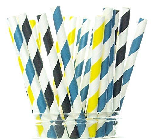 Police Party Supplies, Cop Paper Straws (25 Pack) - Policeman Themed Birthday Party Decorations, Police Party Stripe Straws