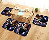 Universal Chair Cushions Solar System Planets All Together in Space Mercury Jupiter Glo Saturn Univer Personalized Durable W15.5 x L15.5/4PCS Set