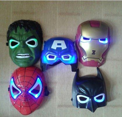 Price comparison product image 5pcs / lot New the Hulk Captain America Batman Spiderman Ironman LED Glowing Party Mask Birthday Halloween Boy Gift
