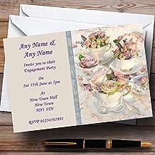 Floral Teacups Pretty Vintage Tea Engagement Party Personalized Invitations