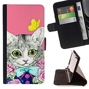 Momo Phone Case / Flip Funda de Cuero Case Cover - Kit Gatito Gato rosado de la mariposa - Samsung Galaxy Note 5 5th N9200