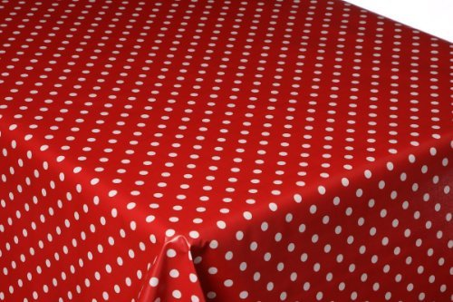 300CM X 137CM (3 METERS) RED POLKA DOT COATED COTTON OILCLOTH TABLECLOTH WIPE CLEAN BEST QUALITY by LINEN702