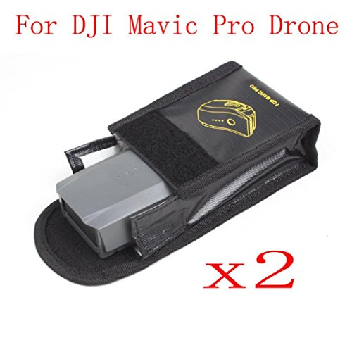Amiley For DJI Mavic Pro Drone Accessories , 2PC Battery Fireproof Explosionproof Storage Bag Case Safety For DJI Mavic Pro